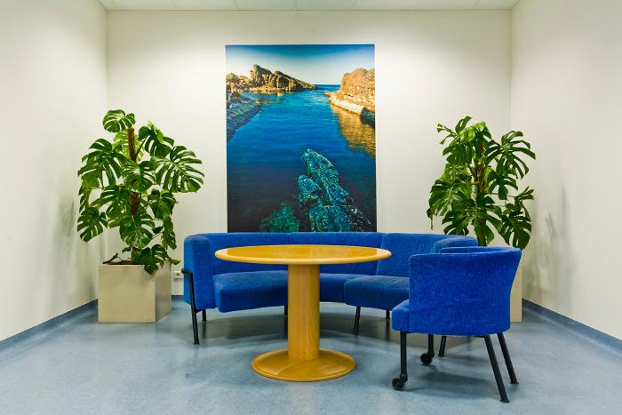 Volvo Polska Sp. z o.o., niebieskie stoliki, biuro