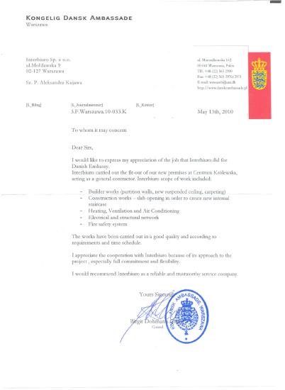 Referencje od Ambasada Królestwa Danii