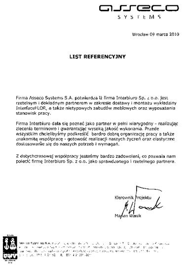 Referencje od Asseco System