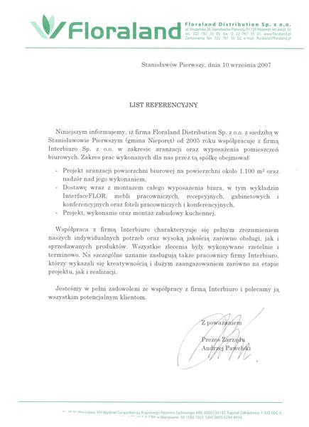Referencje od Floraland Distribution Sp. z o.o.