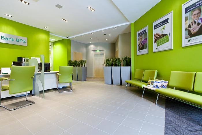 Bank Polskiej Spółdzielczości S.A., interbiuro, zielony fotel, zielone ściany