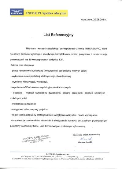 Referencje od INFOR PL Spółka Akcyjna