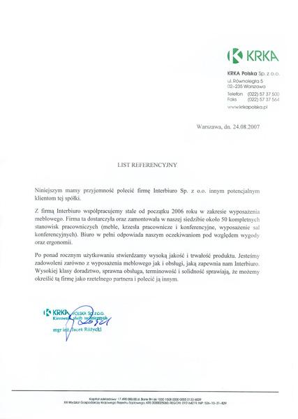 Referencje od KRKA Polska Sp. z o.o.