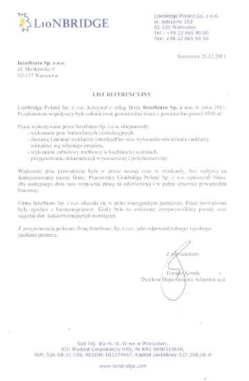 Referencje od Lionbridge Poland Sp. z o.o.