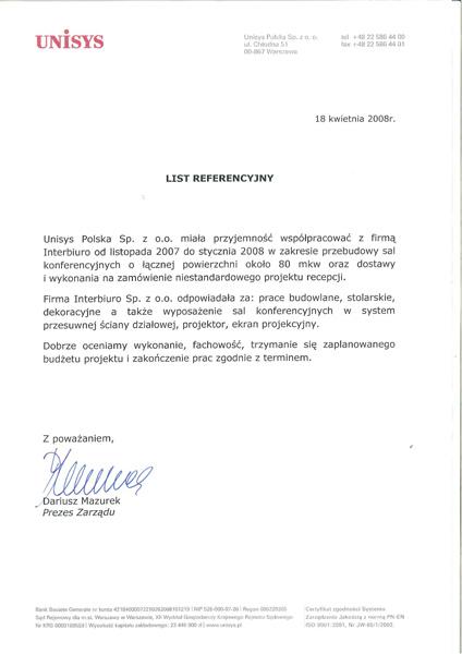 Referencje od Unisys Polska Sp. z o.o.