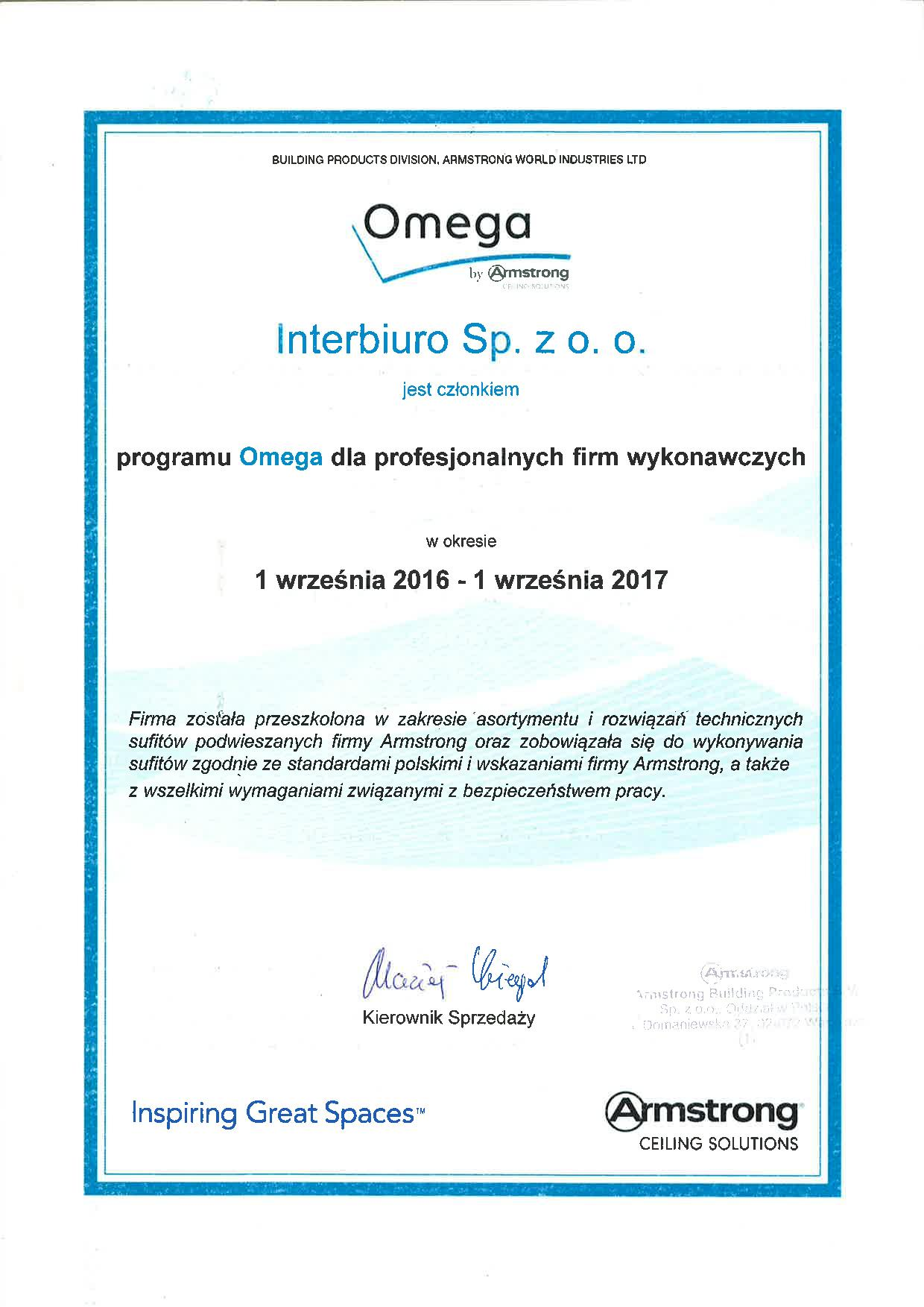 Interbiuro is a member of Omega program for professional contractors
