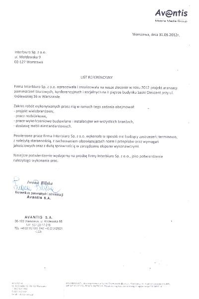 Referencje od AVANTIS S.A.