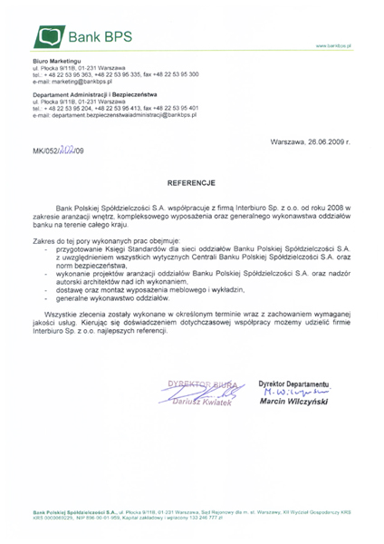 Referencje od Bank Polskiej Spółdzielczości S.A.