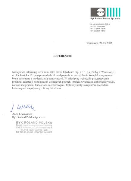 Referencje od Byk Roland Polska Sp. z o.o
