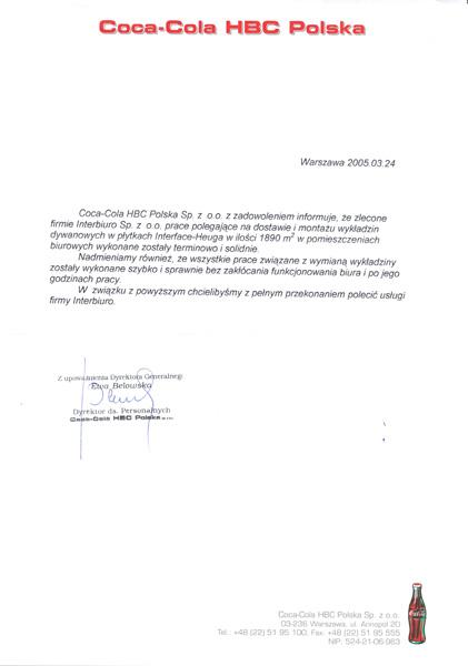Referencje od Coca-Cola HBC Polska Sp. z o.o.