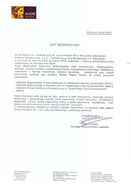 Referencje od Alior Bank S. A.