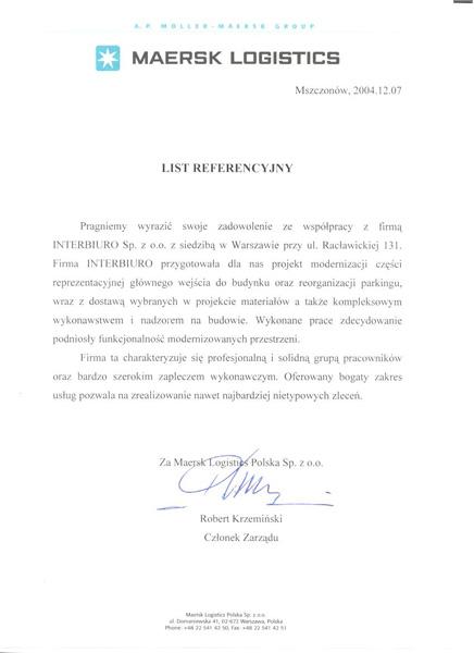 Referencje od Maersk Logistics Polska Sp. z o.o.
