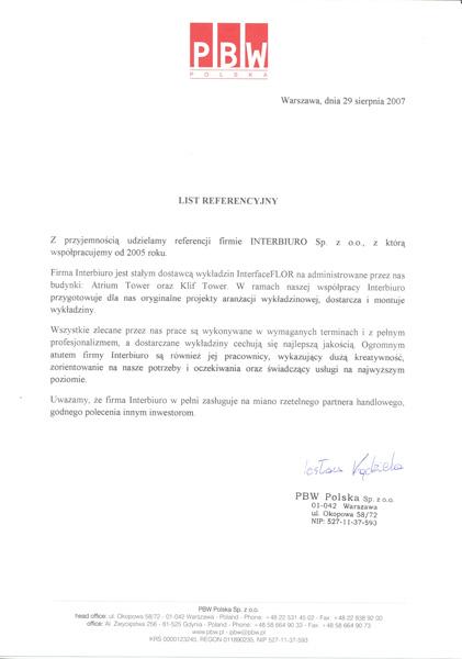 Referencje od PBW Polska Sp. z o.o.