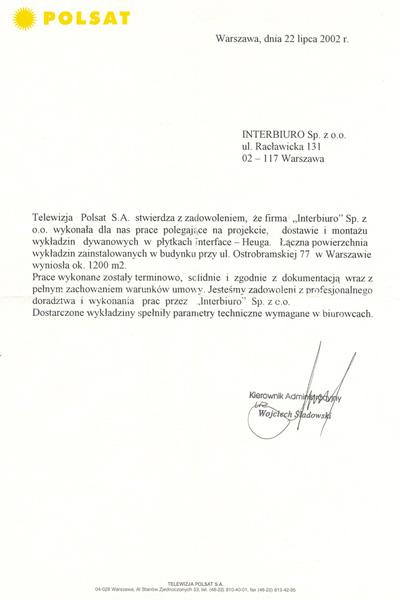 Referencje od Telewizja Polsat S.A.