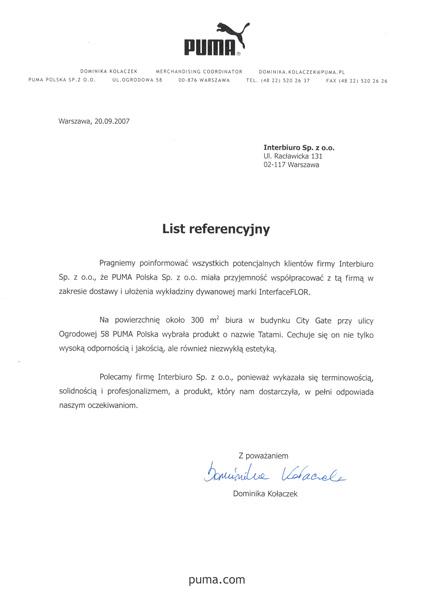 Referencje od Puma Polska Sp. z o.o.