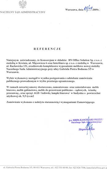 Referencje od Naczelny Sąd Administracyjny