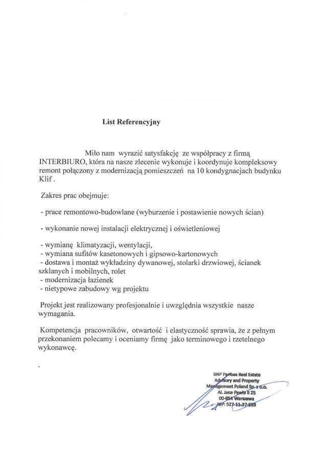 Referencje od BNP Paribas