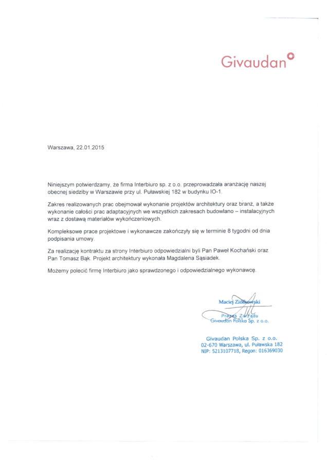 Referencje od Givaudan