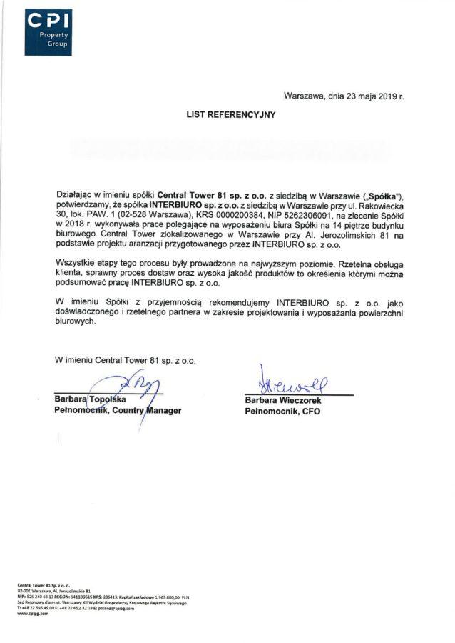 Referencje od CPI Property Group