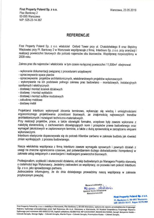 Referencje od First Property Poland Sp. z o.o.