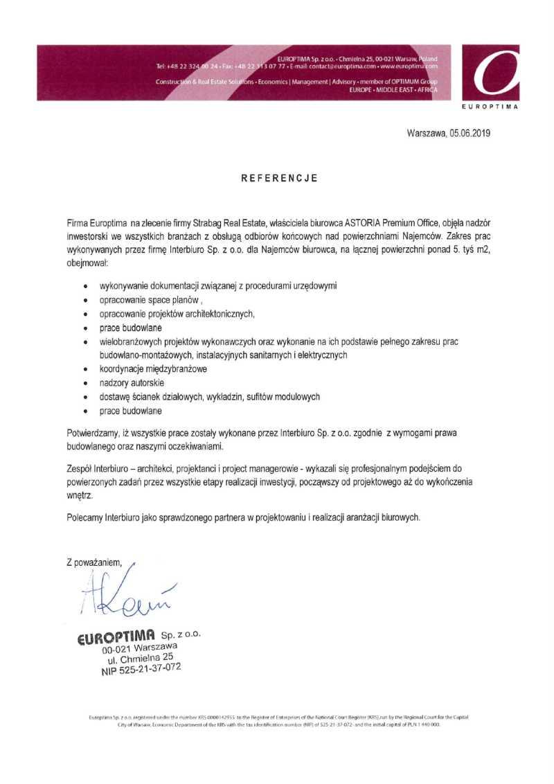Referencje od EUROPTIMA- ASTORIA