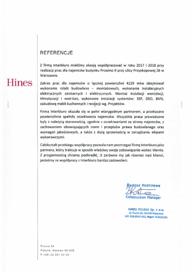 Referencje od Hines- Proximo II
